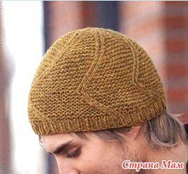Простая мужская шапка спицами. Схема. - Вязание - Страна Мам