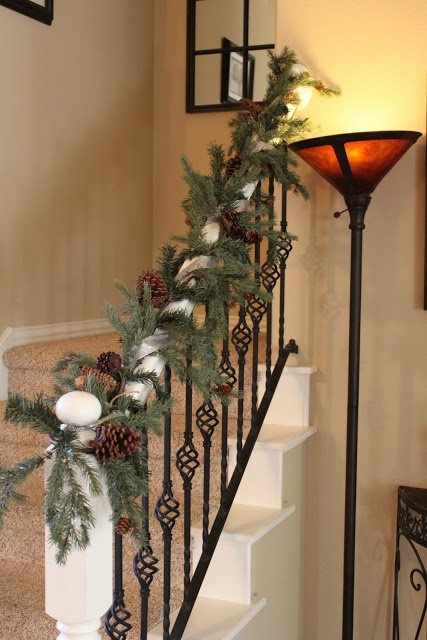 17 best images about christmas staircase decor on for Stair railing decorated for christmas
