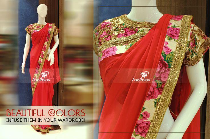 Exude #opulence while donning this #elegant #drape from #Asopalav!   #IndianWeddings #BigFatIndianWeddings #Asopalav #FemaleFashion #Bridalwear #BridalElegance #NewGenerationBrides #IndianEthnicWear #bridalboutique #Weddingseason #ElegantSarees #FloralMotifs