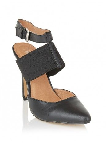 Pointy heels with straps and buckle Black 136