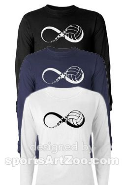 Volleyball Infinity Long Sleeve T-Shirt by #SportsArtZoo. #volleyball #shirt #t-shirt