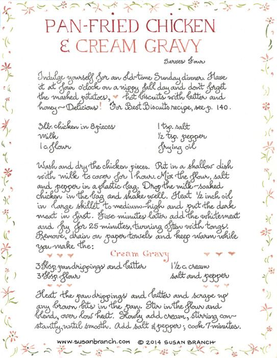 Pan Fried Chicken and Cream Gravy http://www.susanbranch.com/pan-fried-chicken-and-cream-gravy/