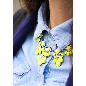 Neon Yellow Flower Statement Necklace
