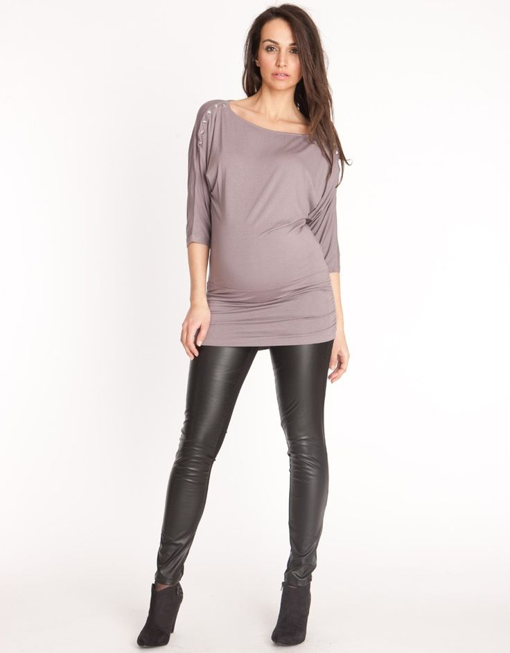 Wake up and smell the leather, preggo babes. This new faux/vegan leather maternity preggo leggings is a must-have going out essential that takes you into some serious preggo bombshell territory.