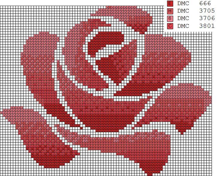 Rosa punto de cruz Rose Cross Stitch R | Dibujos Punto de Cruz Gratis
