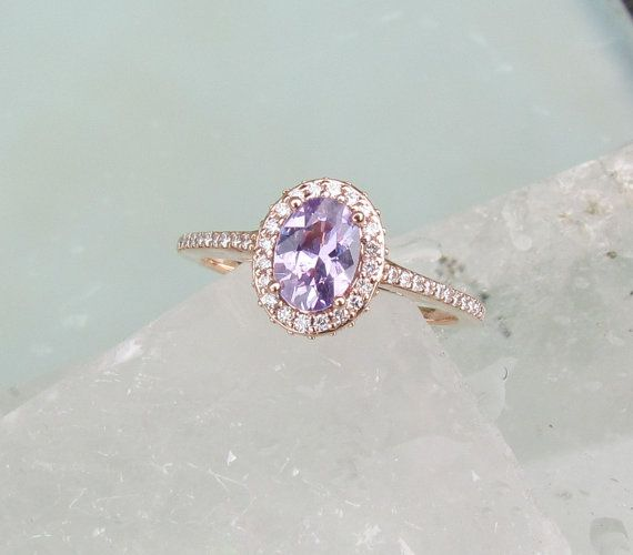 Lavender Purple Natural Sapphire 14k Rose Gold Diamond Halo Engagement Ring | PristineJewelry on Etsy | This shop has some really beautiful stuff and they use recycled gold and conflict free diamonds. Woot!