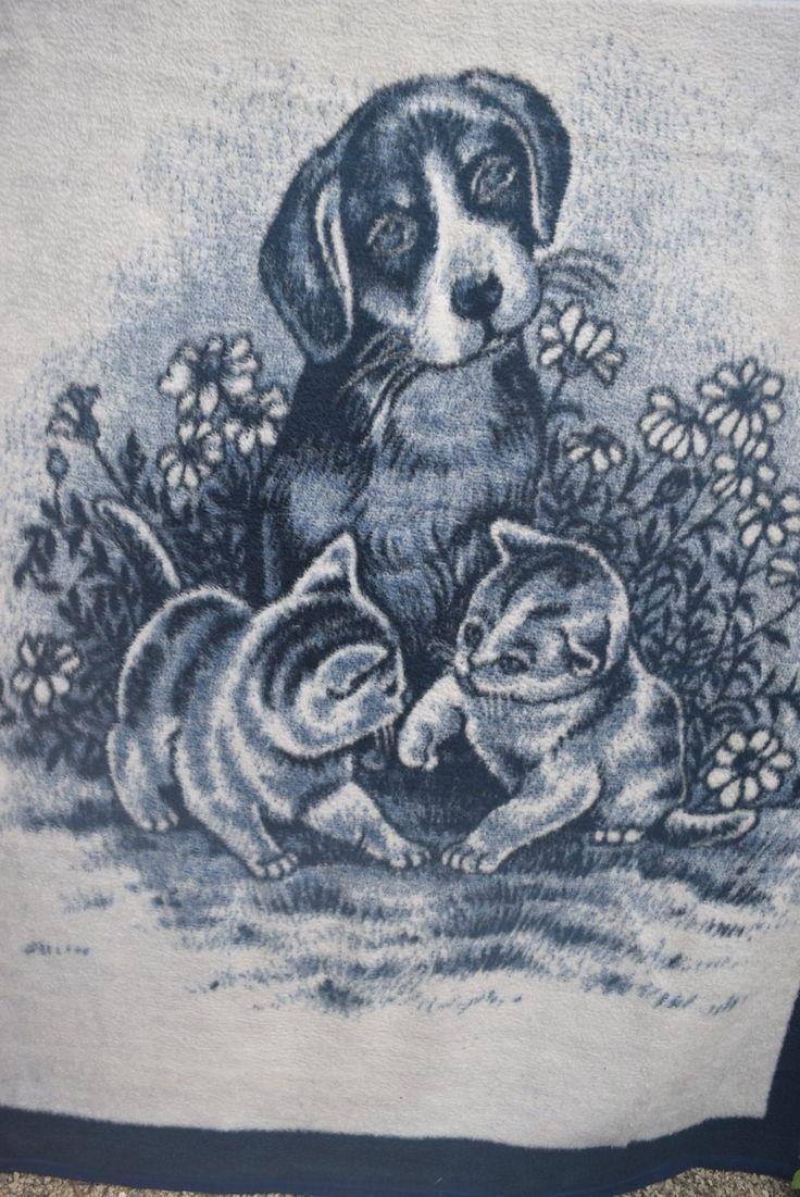 "BIEDERLACK Acrylic Blanket USA Dog with Puppies Navy Blue White 56"" X 76"""