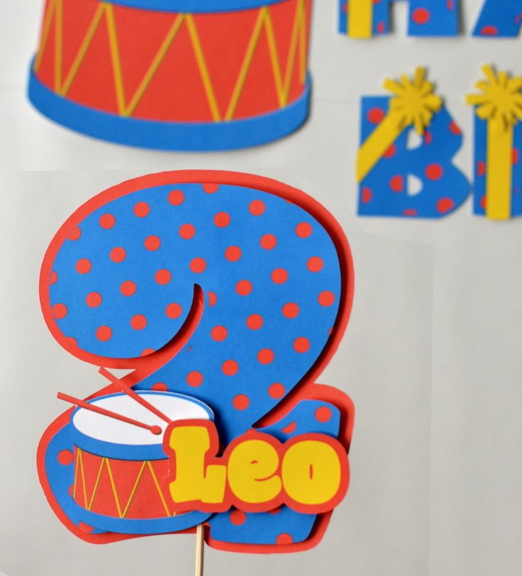 Toy Drum Birthday Theme Party Decoration Cake Topper3-D - CUSTOM Name/Age by bcpaperdesigns on Etsy https://www.etsy.com/listing/125839222/toy-drum-birthday-theme-party-decoration