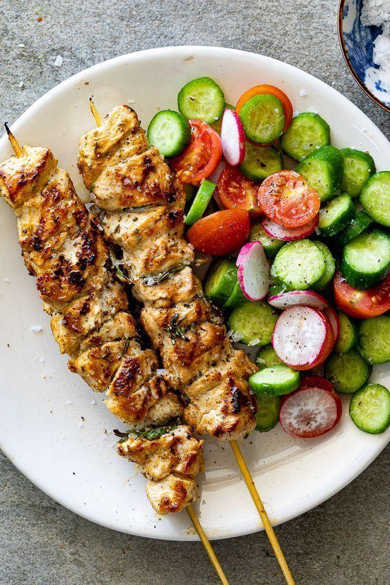 Leichte Herby Zitronen Spiesse Health Dinner Recipes Healthy Recipes Good Healthy Recipes