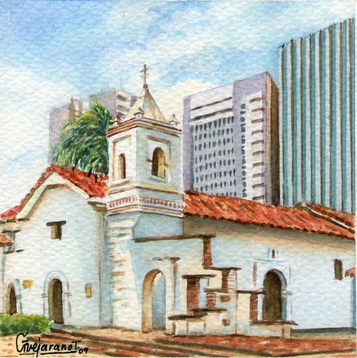 La Merced - Serie Cali Bella. Acuarela ~ Gerardo Vejarano T.