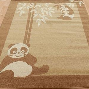 Childrens Rugs Funky Panda Beige Brown