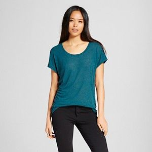 $12 or 2/$21; Women's Drapey Dolman Tee in Dark Teal - Mossimo (linen/poly)