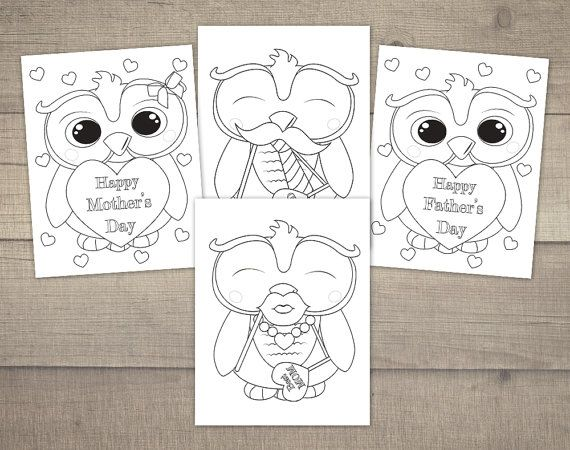 Mother's Day Coloring Pages, Father's Day Coloring, Mothersday Coloring, Printable Coloring Pages, Owl Coloring - 4designs, Digital File