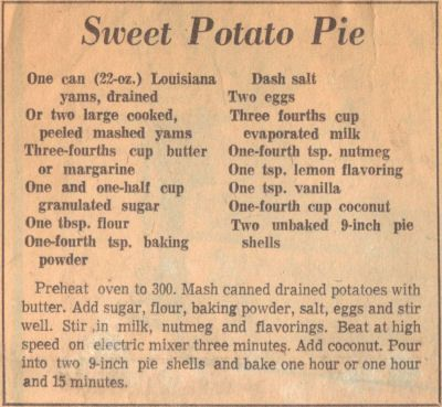 Soul Food Old Fashioned Sweet Potato Pie Recipe