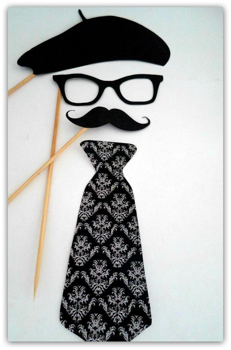 Props, Photobooth, Placas divertidas para fotografar. Paris, óculos, bigode, gravata, boina.