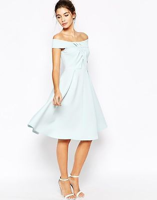 NEW ASOS MINT GREEN OFF THE SHOULDER PARTY PROM SCUBA SKATER DRESS 4 to 18