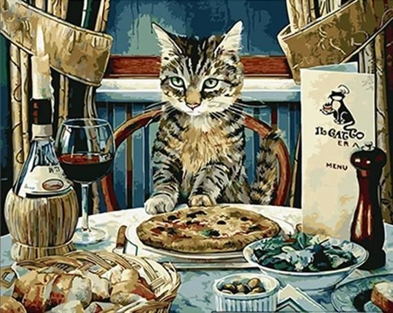 Pie DIY Salad #paintbynumbers Tabby Cat Sitting at Dinner Table Eating: Pie Red Wine Paint by Number Kit Fast Shipping