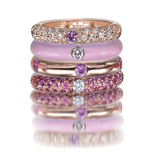 Adolfo Courrier Classic Bon-Bon 18 Karat Rose Gold, Enamel, Pink Sapphire, & Diamond Stack Ring Set