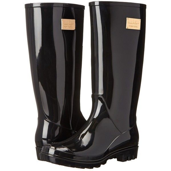 Nicole Miller New York Rainy Day (Black) Women's Rain Boots ($40) ❤ liked on Polyvore featuring shoes, boots, rain boots, black, mid-calf boots, lined rubber boots, black boots, wellington boots, mid calf rain boots and pull on boots
