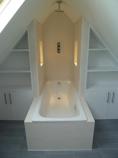 Einbau rechts/links, ohne Badewanne. Dahinter das Fenster. Keine Duschabtrennung...