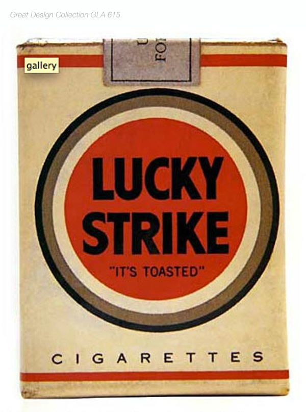 Raymond Loewy's Lucky Strike package design. ( USA 1942 )
