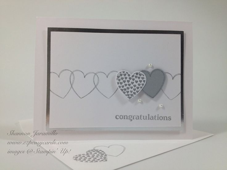 EZPeasyCards - Blog - Wedding Wishes Stampin Up Hearts a Flutter stamps & framelits dies Beautiful clean & fresh wedding card