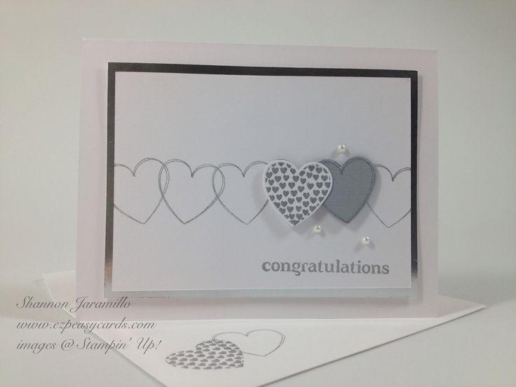 EZPeasyCards - Blog - WeddingWishes Stampin Up Hearts a Flutter stamps & framelits dies Beautiful clean & fresh wedding card
