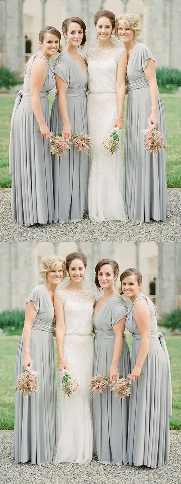 Discount Splendid Bridesmaid Dress Chiffon, Simple Bridesmaid Dress, V Neck Bridesmaid Dress, Grey Bridesmaid Dress