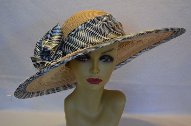 Derby Large Brim Hat / Sun Hat / Race Hat / Church Hat / Wedding Hat by MixedMediabyBridget on Etsy https://www.etsy.com/listing/228467588/derby-large-brim-hat-sun-hat-race-hat