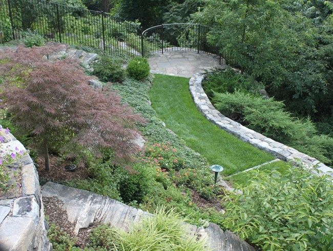 #Pooling and #channeling, leads and directs people through a space.  Garden Overlook, Grass Path from Johnsen Landscapes & Pools Mount Kisco, NY