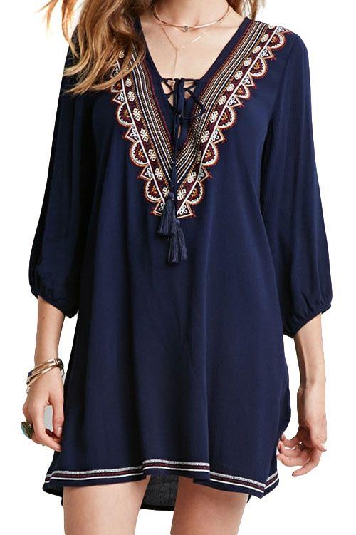 Embroidered Navy Nine-Minute Sleeve Dress