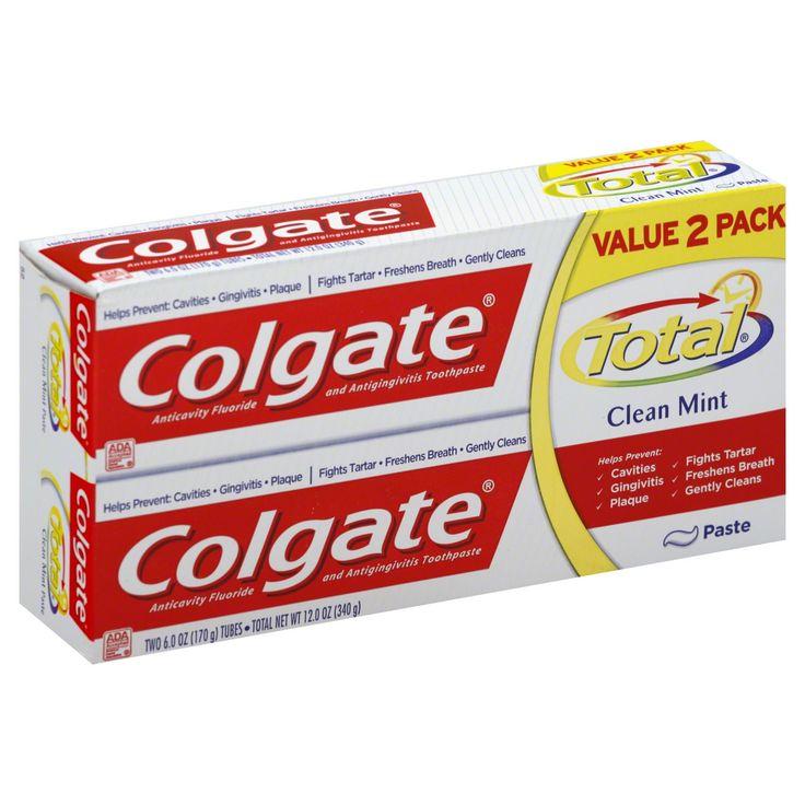 Colgate Total Toothpaste, Anticavity Fluoride and Antigingivitis, Clean Mint, Paste, Value 2 Pack