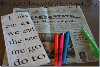 newspaper site word search and find--goof activity to do anywhere for those kids learning sight words! Great idea!