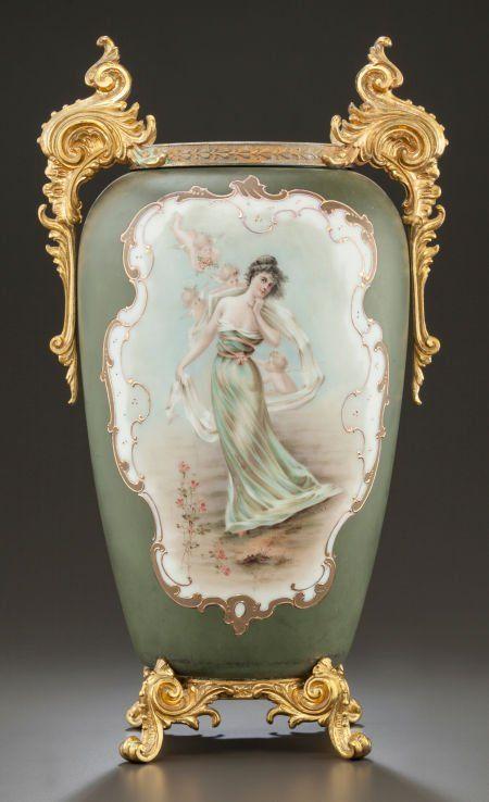 Wavecrest Green Enameled Glass Vase With Gilt Metal Mounts   c.1900