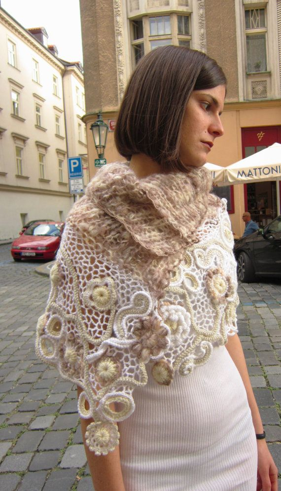 Ivory beige crochet shawl freeform shawl wedding lace by MARTINELI, $160.00