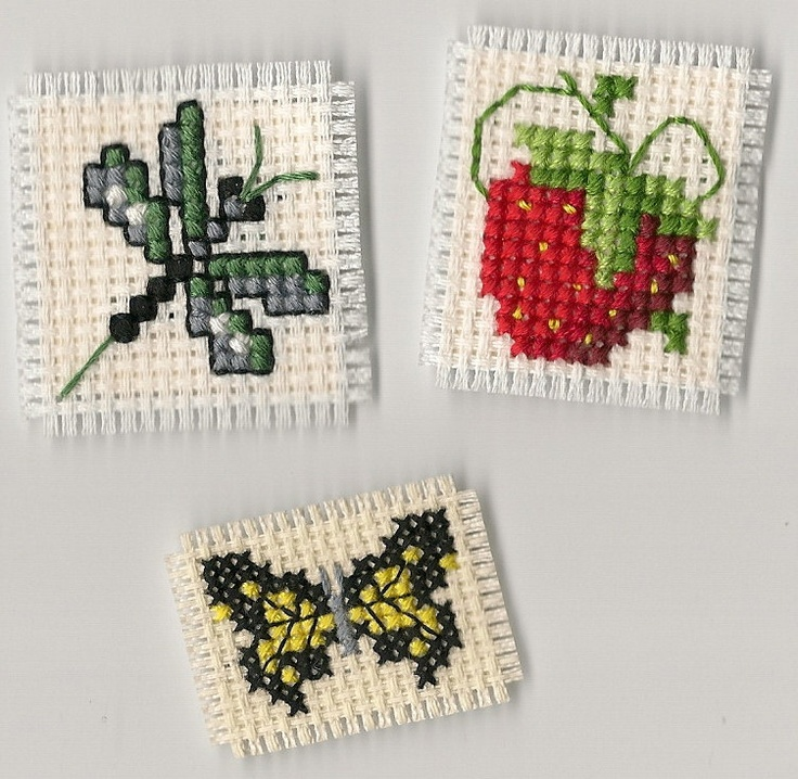 Finished Completed Cross Stitch Strawberry, Dragonfly and Butterfly Magnets. $5.00, via Etsy.