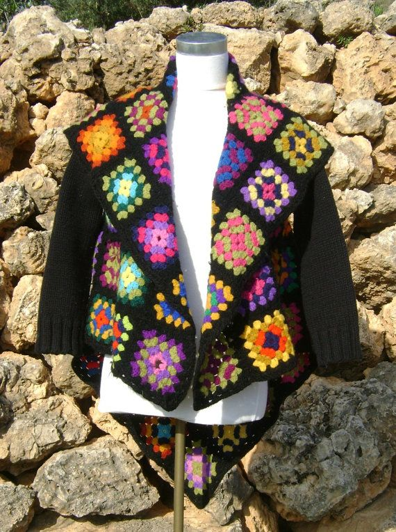 Granny Square Crochet Blanket Jacket Upcycled Granny Square Black Jacket S/M WinterJacket