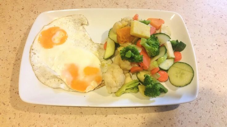 Quick breakfast ... eggs , root veges and cucumber