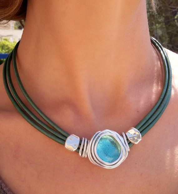 turquoise choker necklace silver wire wrapped stone, leather statement necklace, gift for her, for any occasion, cocktail, evening, charm
