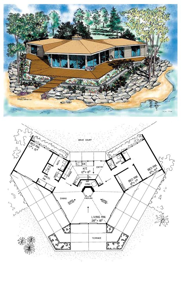 Contemporary House Plan 95001   Total living area: 1336 sq ft, 3 bedrooms & 2 bathrooms. #houseplan #contemporary