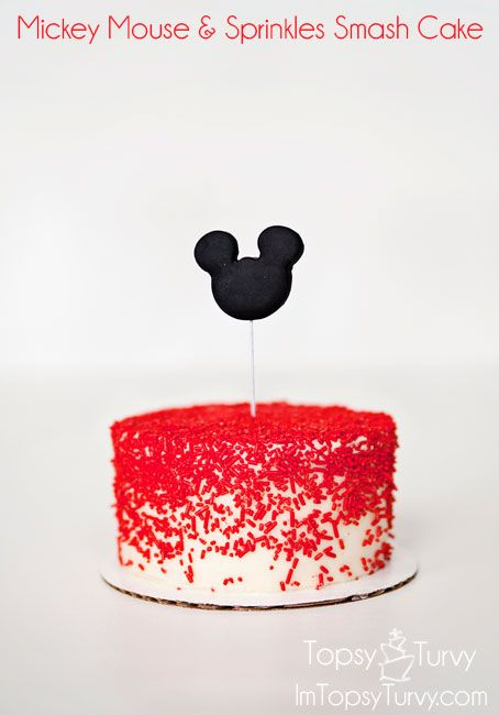 "Mickey Mouse  Sprinkles Smash Cake Can use glitter instead of red sprinkels and ""1"" or tiara"