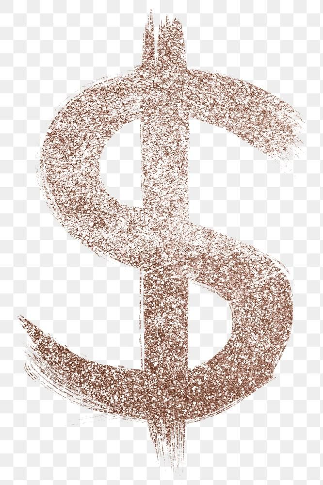 Transparent Glitter Dollar Symbol Brushed Rose Gold Typography Free Image By Rawpixel Com Hein Brush Stroke Font Gold Typography Silver Glitter