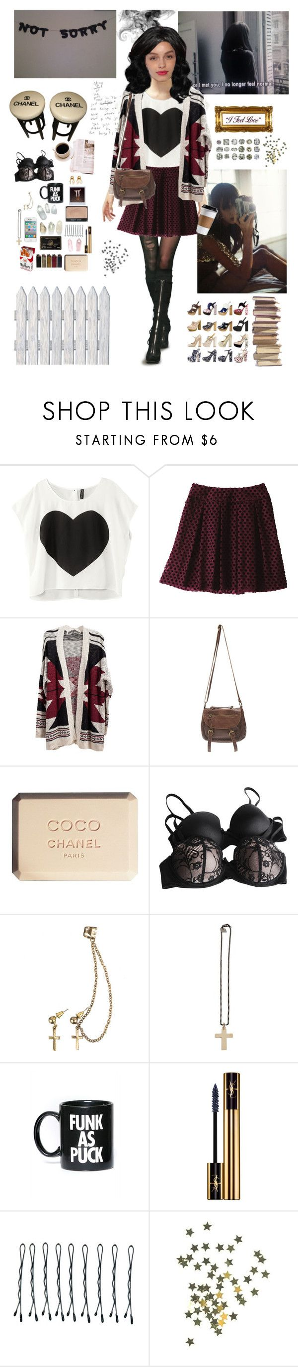 """Aria M."" by mademoisellegabriellecoco ❤ liked on Polyvore featuring Uniqlo, Wet Seal, Chanel, Forever 21, Club Manhattan, Maria Francesca Pepe, NARS Cosmetics, Dreamgirl, Glamour Kills and Yves Saint Laurent"