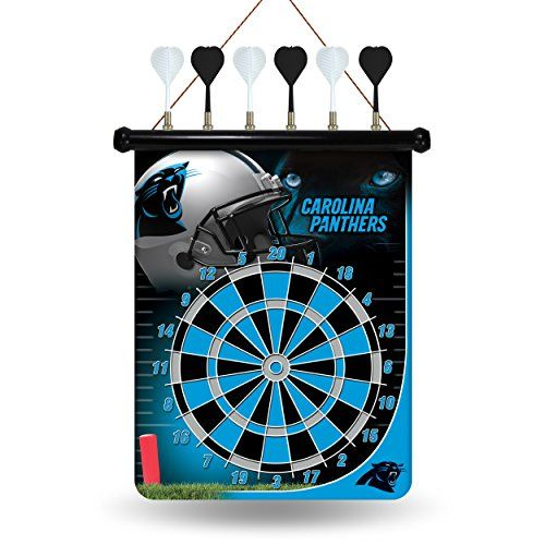 NFL Carolina Panthers Magnetic Dart Board  Measures 18-inches by 16-inches with 3-Inch magnetic darts  Officially licensed magnetic dartboard  Sublimated dartboard with bright, vivid, eye popping graphics  Safe magnetic tip darts  Includes a sturdy cord for hanging the dartboard