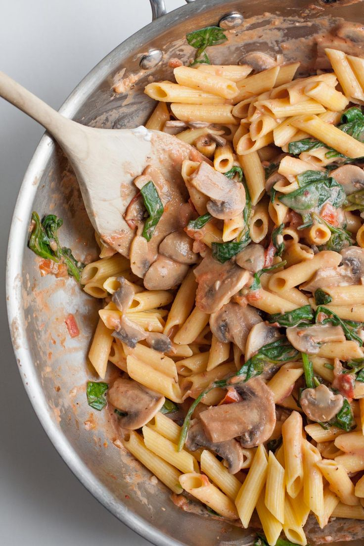 garlic, red pepper flakes, mushrooms, tomatoes, spinach, marinara sauce, pasta, greek yogurt