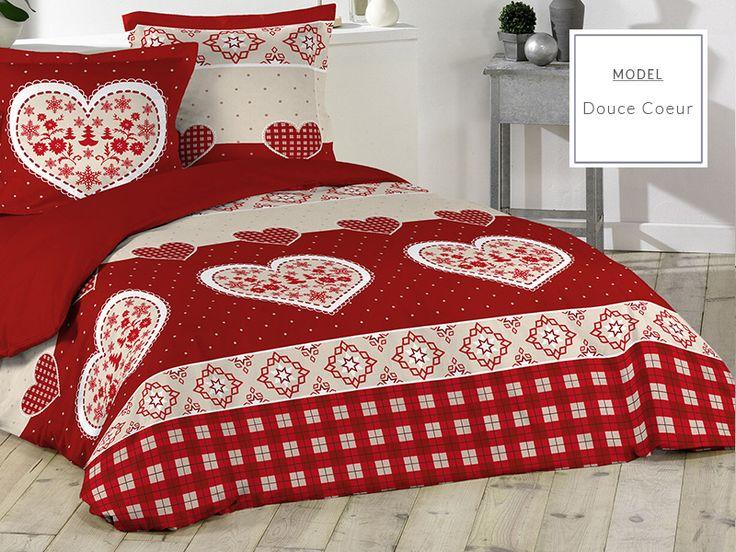 Francuska pościel do sypialni w kolorze czerwonym z motywem świątecznym