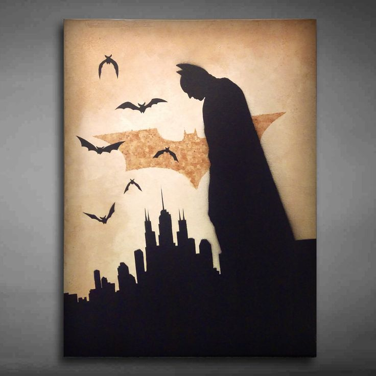 Batman Canvas Art | Painted using stencils, coffee & acrylic paints…