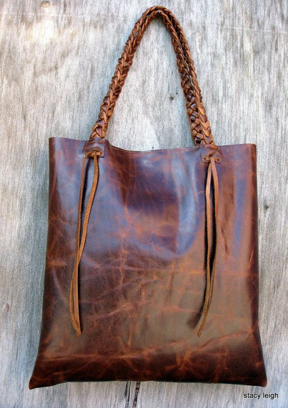 Distressed Brown Leather Tote Made To Order By Stacy Stacyleigh