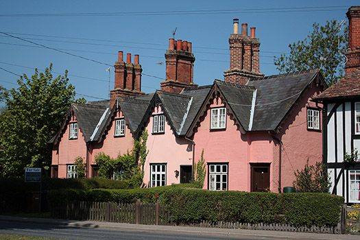 Suffolk pink cottages
