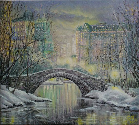 New York painting snow Central Park painting by svetlanamatevosjan